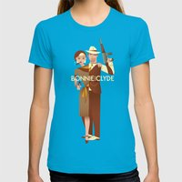 Bonnie & Clyde Womens Fitted Tee Teal SMALL