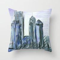 Gray Philadelphia Skyline Throw Pillow