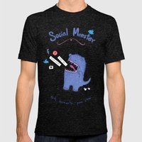 Social Monster Blue Mens Fitted Tee Tri-Black SMALL