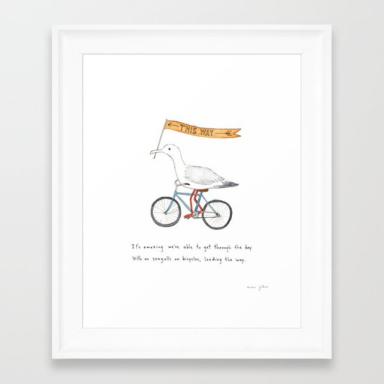 seagulls on bicycles Framed Art Print