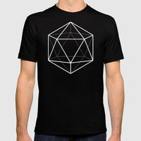 Icosahedron Pattern Bright Blue Mens Fitted Tee Black SMALL