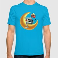 Crazy Moon Cow Mens Fitted Tee Teal SMALL
