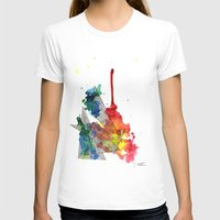 Watercolor and Fine Liner Triangles Womens Fitted Tee White SMALL