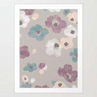 Watercolor Blooms - In T… Art Print