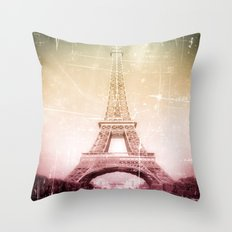 Eiffel Tower in Color Throw Pillow