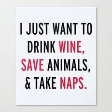 Drink Wine & Save Animal… Canvas Print