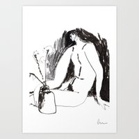 Nude Male With Vase And … Art Print