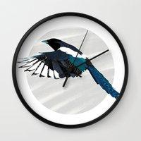 Magpie in Flight Wall Clock