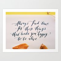 Happy To Be Alive Callig… Art Print