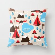 Scandinavian retro moose pattern Throw Pillow