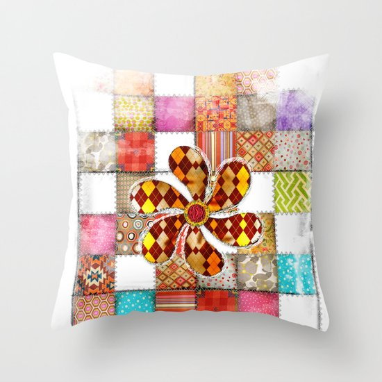 Lady Patchwork (Bulgarian Love) Throw Pillow