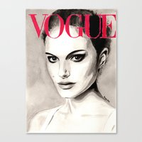 Vogue Magazine Cover. Natalie Portman. Fashion Illustration Canvas Print