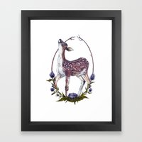 Fawn and Thistle Framed Art Print