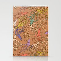 Squids of the inky ocean - retro colorway Stationery Cards