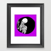Skeleton Wink Framed Art Print