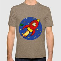 Space Rocket Mens Fitted Tee Tri-Coffee SMALL