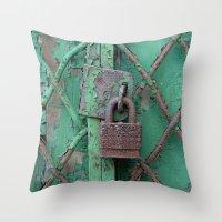 Rusty Lock Throw Pillow