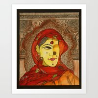 Woman in Red Scarf Art Print