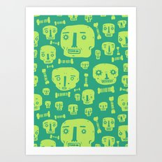 Skulls & Bones I - Green Art Print