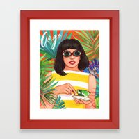Palms And Stripes Framed Art Print