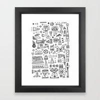 Triangle doodles Framed Art Print