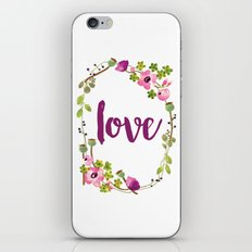 Floral Wreath Watercolor - Love - by Sarah Jane Design iPhone & iPod Skin
