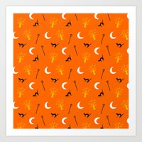 Halloween Night-Orange Art Print