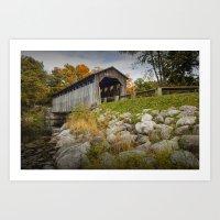 Covered Bridge on the Flat River at Fallasburg Park Art Print