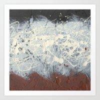 Pollock Rothko Inspired Black White Red Abstract Art Print