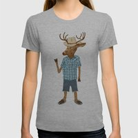 Country deer Womens Fitted Tee Athletic Grey SMALL