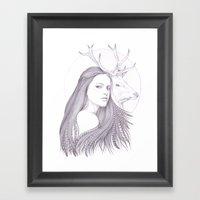 The White Deer Framed Art Print