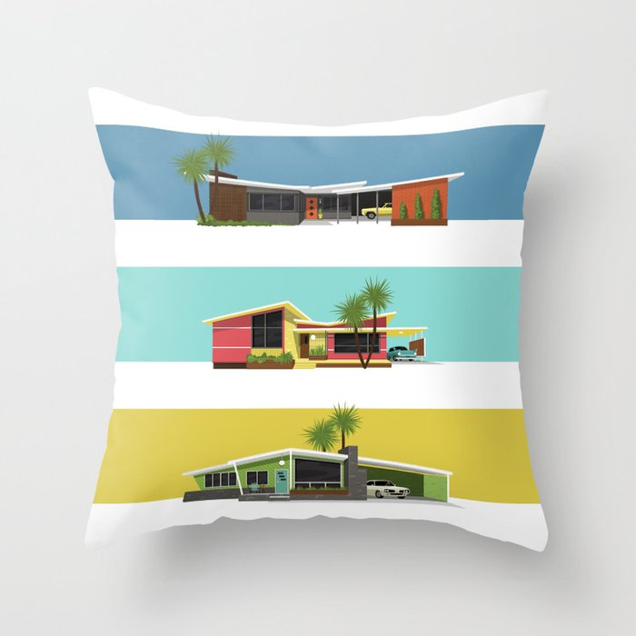 Mid Century Modern Houses 2 Throw Pillow by Kaycee Parker Society6