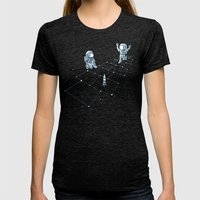 Hopscotch Astronauts Womens Fitted Tee Tri-Black SMALL