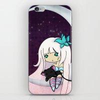 Silver Butterfly Moon iPhone & iPod Skin