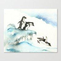 Jumping Penguins - Watercolor Canvas Print