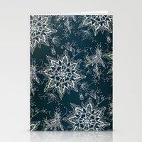 Zendala snowflake denim Stationery Cards