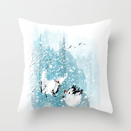 Dancing in the snow Throw Pillow