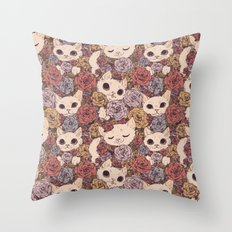 Floral Cat Pattern Throw Pillow