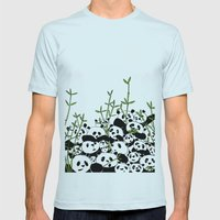 A Pandemonium of Pandas  Mens Fitted Tee Light Blue SMALL