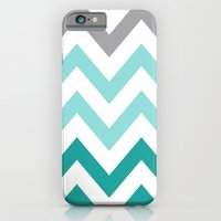 iPhone & iPod Case featuring TEAL FADE CHEVRON by natalie sales