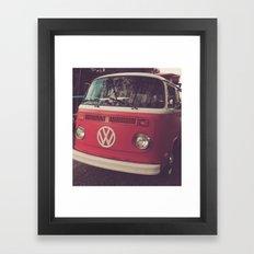 Volkswagen Bus Red & White Vintage Print Framed Art Print