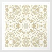 Lace Floral Ivory Sand (… Art Print