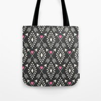 Tribal Aztec With Hearts… Tote Bag