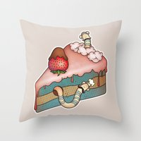 SWEET WORMS 3 - strawberry cake Throw Pillow