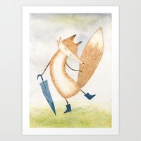 Art Print featuring It stopped raining, Mr Fox by Diana Toledano