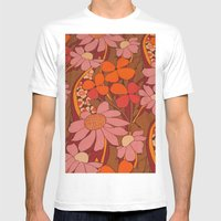 Crazy pinks 50s Flower  Mens Fitted Tee White SMALL