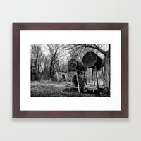Fuel Drums and Fallen House Framed Art Print