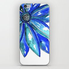 Blue Watercolor flower iPhone & iPod Skin