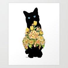 Tall Black Cat Art Print