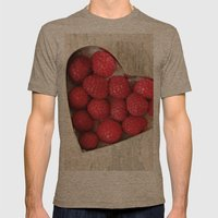 Raspberry Heart Mens Fitted Tee Tri-Coffee SMALL